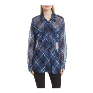 Rag & Bone Mason Plaid Stretch Silk Shirt Size  XS